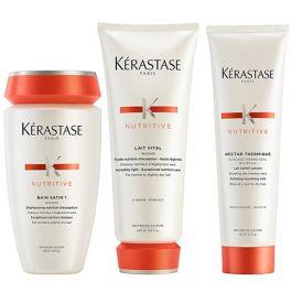 Kérastase Nutritive Bain Satin 1 250ml, Lait Vital 200ml & Nectar Thermique Glacage Thermo-Seal 150ml Pack