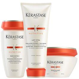 Kérastase Nutritive Bain Satin 2 250ml, Nutritive Lait Vital 200ml & Nutritive Masqueintense Fins 200ml Pack