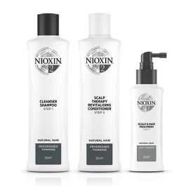 Nioxin System 2 Shampoo 300ml, Therapy Revitalizing Conditioner 300ml and Scalp & Hair Treatment 100ml for Natural Hair with Progressed Thinning Pack