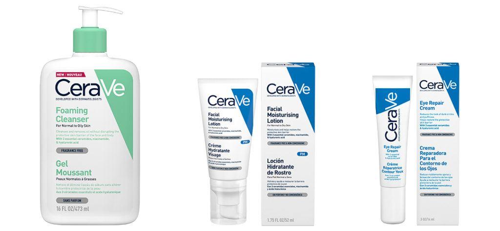 cerave foaming cleanser, moisturising lotion and eye repair cream