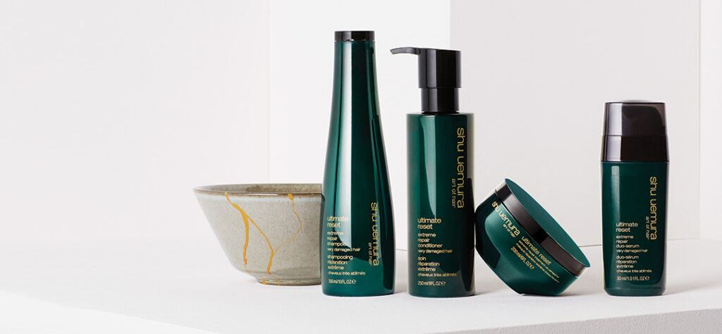 shu uemura ultimate reset shampoo, conditioner, mask and serum